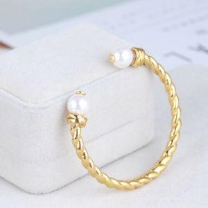 Tory Burch Jewelry - NEW Tory Burch Rope Logo Bead Hinge Cuff Bracelet